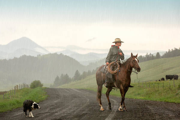Cowboy Photograph - Braving The Rain by Todd Klassy