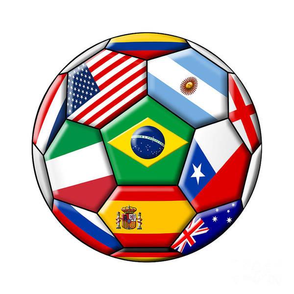 Wall Art - Digital Art - Brazil 2014 - Soccer With Various Flags by Michal Boubin