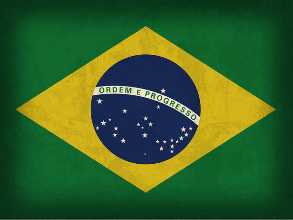 South America Mixed Media - Brazil Flag Vintage Distressed Finish by Design Turnpike