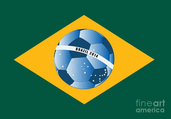 Practice Digital Art - Brazil Flag With Ball by Michal Boubin