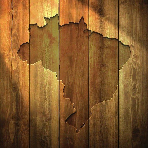Timber Digital Art - Brazil Map On Lit Wooden Background by Bgblue
