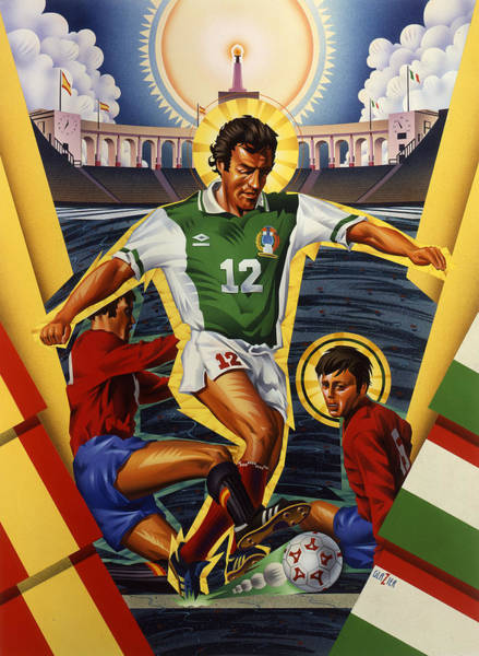 Brazil Painting - Brazilian And Italian Team Soccer Poster   by Garth Glazier