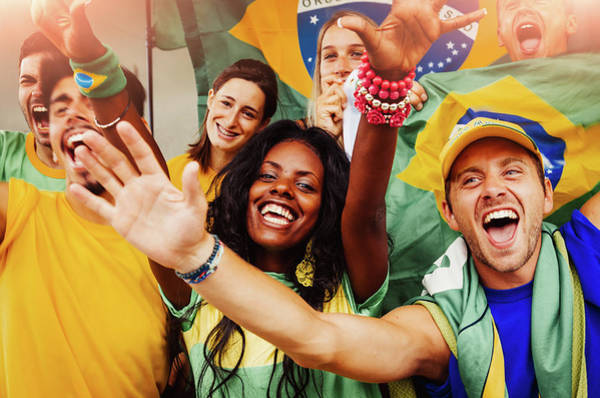 Team Sport Photograph - Brazilian Fans At Stadium by Filippobacci