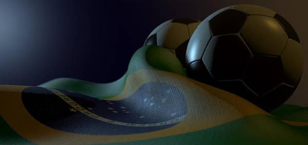 Shadow Digital Art - Brazilian Flag And Soccer Ball by Allan Swart