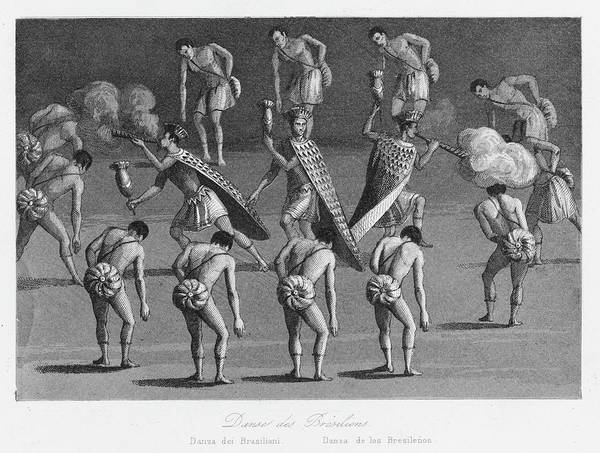 Traditional Dances Drawing - Brazilian Natives Performing by Mary Evans Picture Library
