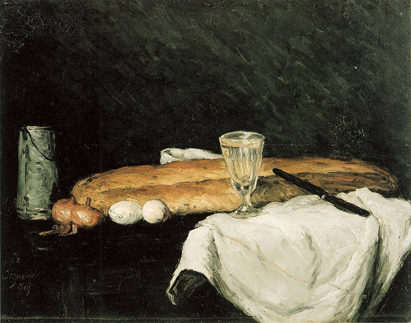 Bread And Wine Painting - Bread And Eggs by Paul Cezanne