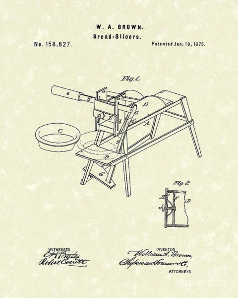 Wall Art - Drawing - Bread Slicers 1875 Patent Art by Prior Art Design