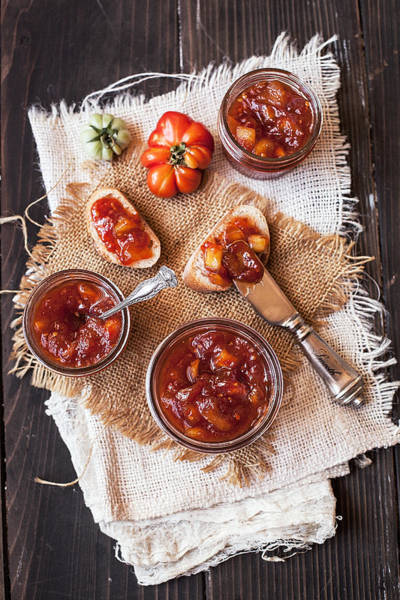 Jar Photograph - Bread Slices With Tomato Apple Jam by One Girl In The Kitchen