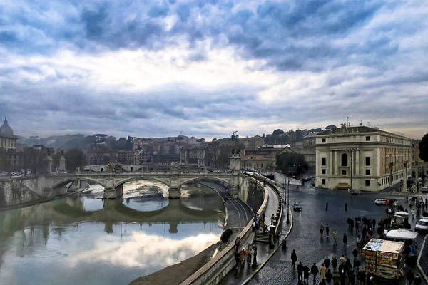 Photograph - Break In The Storm Over Rome's Tiber River by Mark E Tisdale