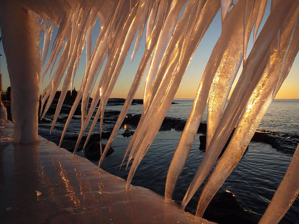 Photograph - Break Wall Winter Sunrise by James Peterson