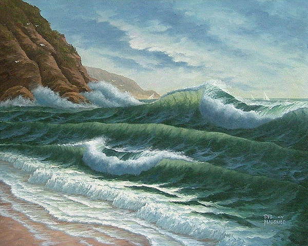 Big Wave Painting - Breakers At Big Sur by Del Malonee