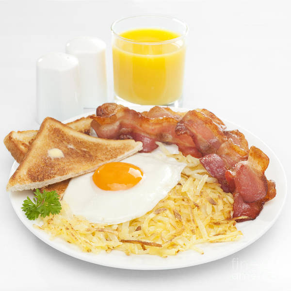 Sunny Side Up Wall Art - Photograph - Breakfast Hash Browns Bacon Fried Egg Toast Orange Juice by Colin and Linda McKie