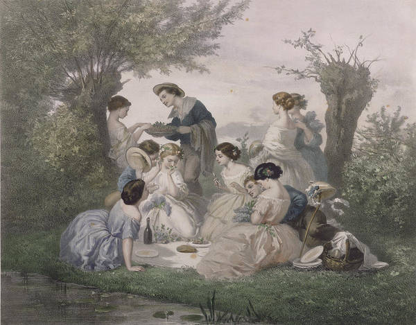 Plein Air Photograph - Breakfast In The Spring, Engraved By Regnier, Bettannier And Morlon Colour Litho by A. de Beaumont