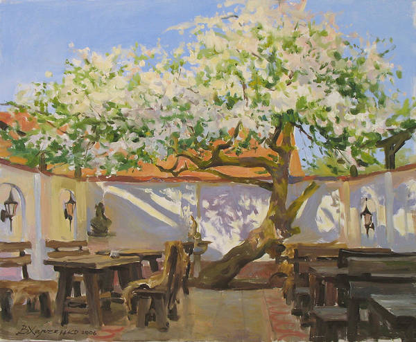 Wall Art - Painting - Breakfast Near An Old Apple Tree by Victoria Kharchenko