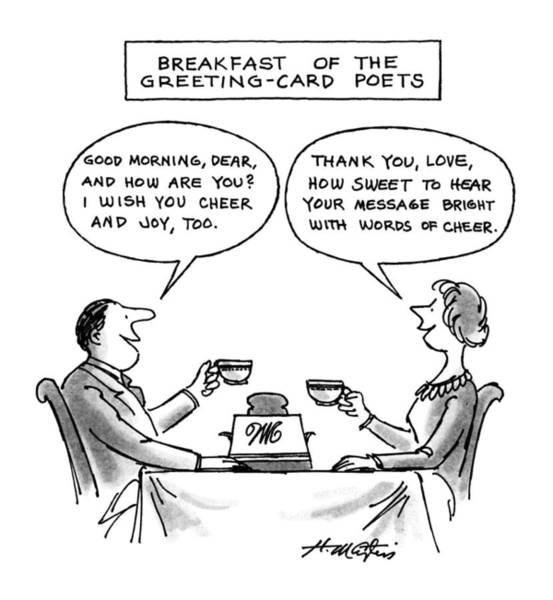 Poet Drawing - Breakfast Of The Greeting-card Poets by Henry Martin