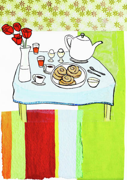 Cinnamon Buns Photograph - Breakfast On Table With Flowers by Ikon Ikon Images