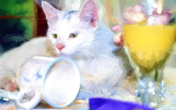 Painting - Breakfast With The White Cat by Bob Orsillo