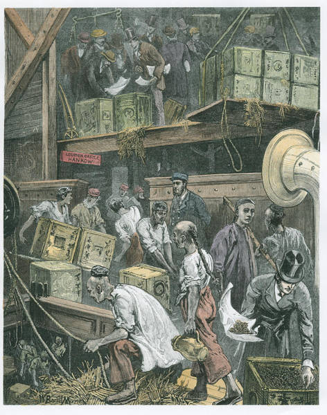 Chinese Drawing - Breaking Bulk On Board A Tea Ship by William Bazett Murray