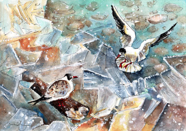 Painting - Breaking The Ice On Lake Constance by Miki De Goodaboom
