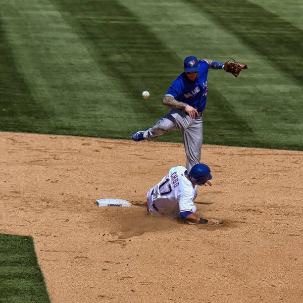Toronto Blue Jays Photograph - Breaking Up The Double Play by Debby Richards