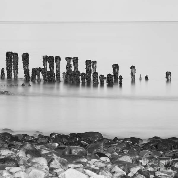 Bristol Channel Photograph - Breakwater Squared by Anne Gilbert