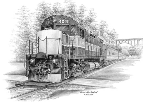 Railroad Station Drawing - Brecksville Station - Cuyahoga Valley National Park by Kelli Swan