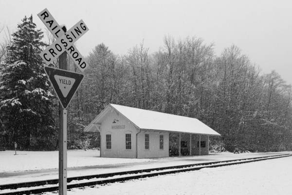 Photograph - Brecksville Station Snowfall Black And White by Clint Buhler