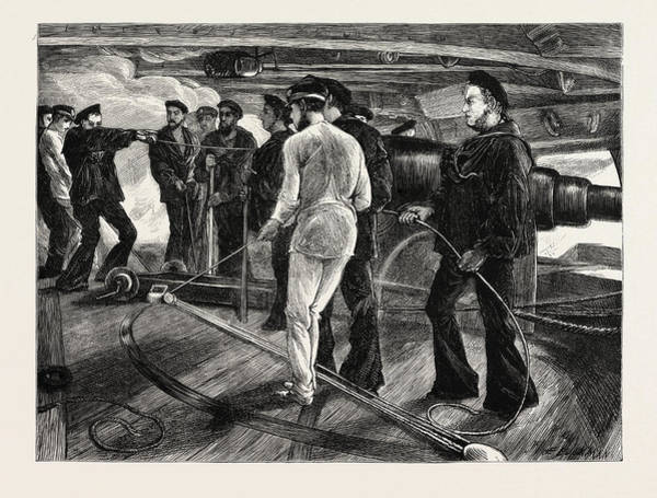 Wall Art - Drawing - Breech-loaders Versus Muzzle-loaders Gun Drill In The Navy by English School