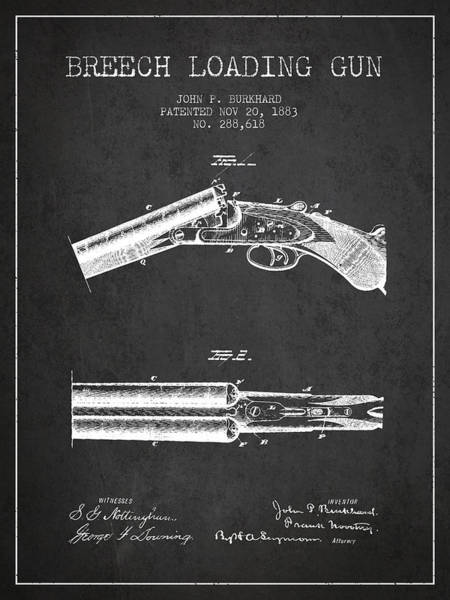 Shooting Digital Art - Breech Loading Gun Patent Drawing From 1883 - Dark by Aged Pixel