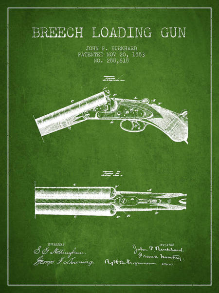 Shooting Digital Art - Breech Loading Gun Patent Drawing From 1883 - Green by Aged Pixel