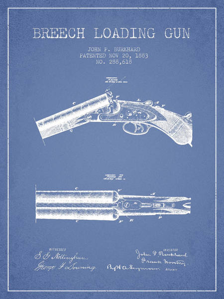 Shooting Digital Art - Breech Loading Gun Patent Drawing From 1883 - Light Blue by Aged Pixel