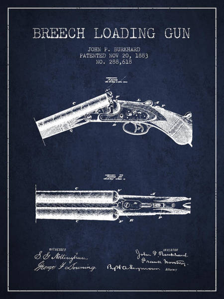 Shooting Digital Art - Breech Loading Gun Patent Drawing From 1883 - Navy Blue by Aged Pixel