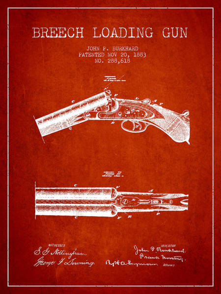 Shooting Digital Art - Breech Loading Gun Patent Drawing From 1883 - Red by Aged Pixel