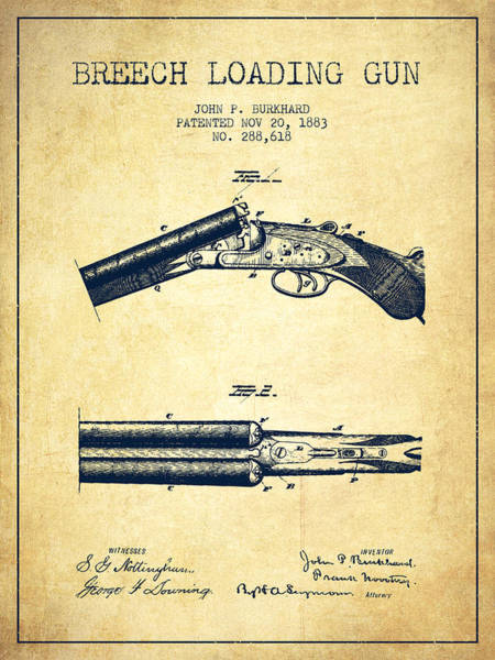 Shooting Digital Art - Breech Loading Gun Patent Drawing From 1883 - Vintage by Aged Pixel