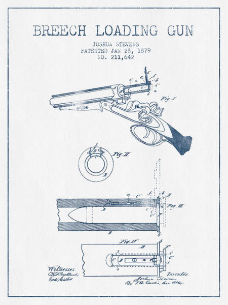 Shooting Digital Art - Breech Loading Shotgun Patent Drawing From 1879 -  Blue Ink by Aged Pixel