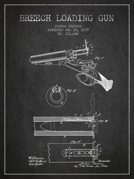 Shooting Digital Art - Breech Loading Shotgun Patent Drawing From 1879 - Dark by Aged Pixel