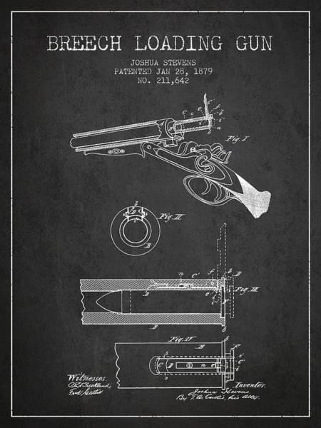 Antique Firearms Wall Art - Digital Art - Breech Loading Shotgun Patent Drawing From 1879 - Dark by Aged Pixel