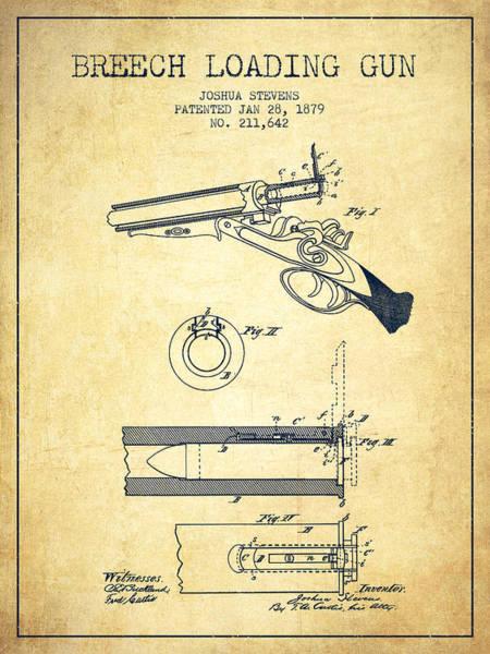 Antique Firearms Wall Art - Digital Art - Breech Loading Shotgun Patent Drawing From 1879 - Vintage by Aged Pixel