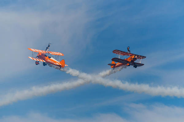 Photograph - Breitling Wingwalkers Cross Sunderland 2014 by Scott Lyons