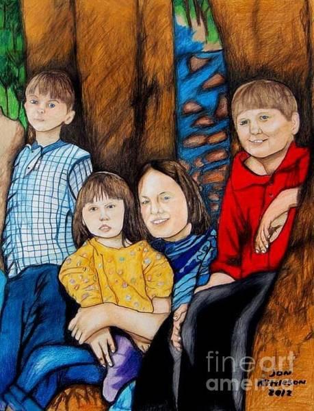 Drawing - Brenda's Kids by Jon Kittleson