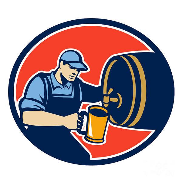 Pouring Digital Art - Brewer Bartender Pour Beer Pitcher Barrel Retro by Aloysius Patrimonio