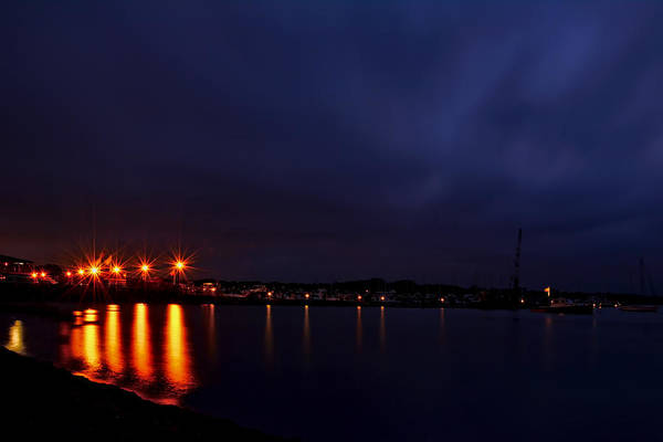 Photograph - Brewer Yacht Yard At Cowesett Rhode Island Blue Hour by Lourry Legarde