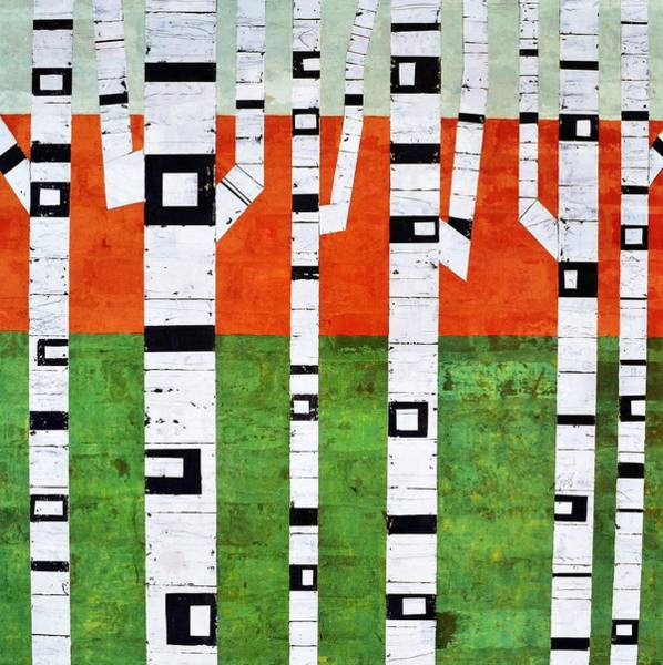 Painting - Brick Birches - Spring by Michelle Calkins