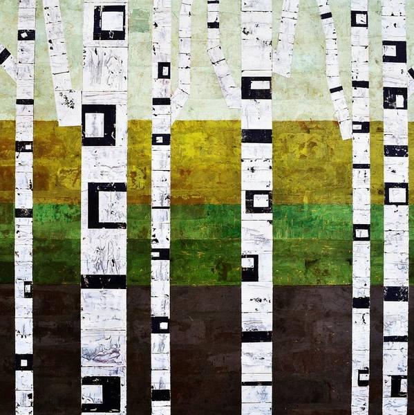 Painting - Brick Birches - Summer by Michelle Calkins