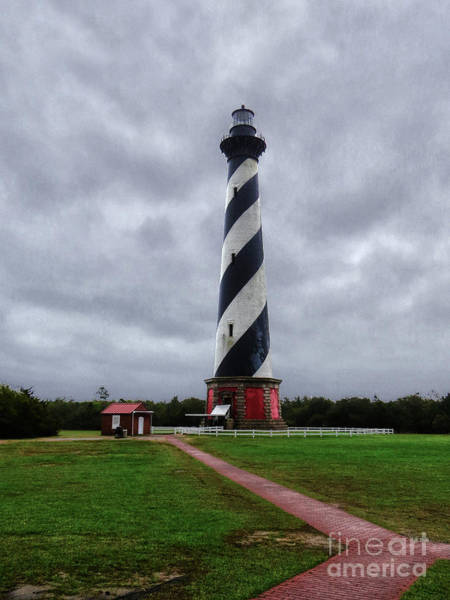 Roanoke Marshes Light Wall Art - Photograph - Brick Pathway To The Lighthouse by Dawn Gari