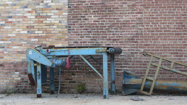 Photograph - Brick Wall And Discarded Machinery by Anita Burgermeister