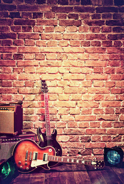 Brick Wall Photograph - Brick Wall Music Stage With Instruments by Gregor Schuster