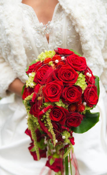 Photograph - Bridal Bouquet With Red Roses by Matthias Hauser