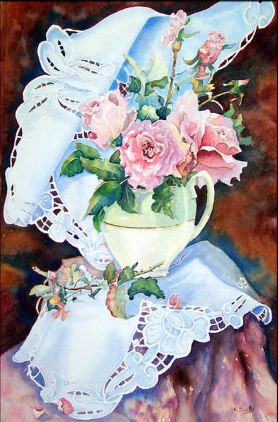 Doily Painting - Bridal Pink by Kerry Scally