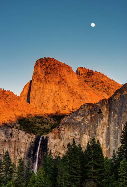 Bridalveil Falls And Full Moon Art Print